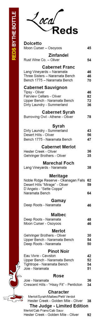 red Wines by the glass